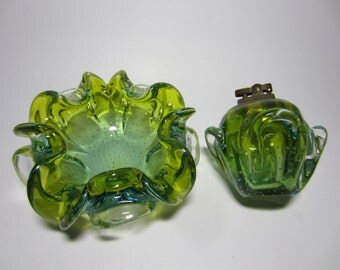 Vintage Green Murano Cigarette Smoking Ashtray Lighter Glass Bowl Set