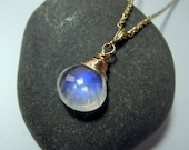 RESERVED FOR TR - Rainbow Moonstone Necklace, Moonstone Pendant in Silver,Moonstone Briolette, Mystical Moon Designs