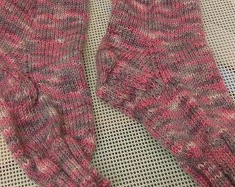 Luxury Hand knitted pink socks size 5/6 or 38/39