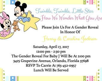 Minnie & Mickey Baby Gender Reveal Invitation - Disney Theme - Download - 4 x 6 inches