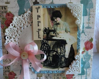You Are Sew Special~~~  Sewing Themed Card ~~~ Petite and Pretty~~~