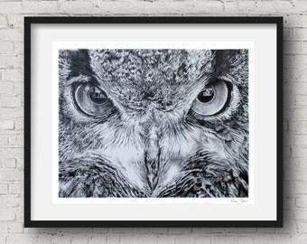 Nature Wall Art Owl Print by Pierre Bolouvi Black and White Art Owl Wall Decor
