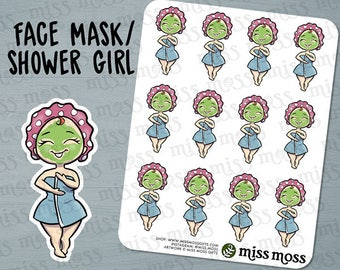 Light Skin Cute Face Mask Shower Spa Planner Stickers, Caucasian Asian White - Erin Condren, Happy Planner, Kikki K, Filofax, Decorative