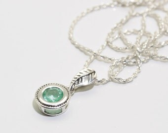 Emerald (Natural Colombian Emerald), 6mm 0.62 Carats, Round Cut, Sterling Silver Pendant Necklace with Chain