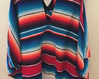 Mexican poncho serape, hippie serape poncho,one size, fringe boho poncho,colorful ethnic poncho,folk mexican blanket poncho, shawl, wrap