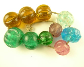 10 pcs lovely mixed scalloped melon glass beads old African trade tribal AH-0005