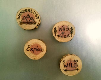 Set of 4 Explorer Series Cedar Magnets Hiking Adventure Wanderlust Wild and Free