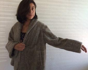 Vintage Fake Faux Fur Jacket Beige