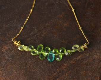 Bar Necklace. Apatite and Peridot Necklace, Blue and Green Teardrop Necklace. Gemstone Jewelry. NM-2189-4