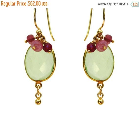 20% off. Ruby and Tea Green Earrings. Gold Vermeil and Chalcedony Bezel Set Earrings with Little Raspberry Rubies.