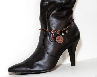 "Copper Boot Bracelet with ""ARTFUL"" Charm and Agate Gemstone Beads. Fits Western or Dress Boots. Great Gift Idea. FREE Shipping in U.S.A."