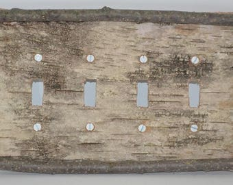 Birch Bark Light Switch Plate Cover 4 Toggle Switch