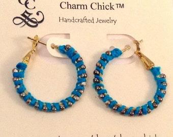 Wrapped Hoops, Hoop Earrings, Turquoise Earrings, Metal Earrings, Beaded Earrings, Trendy Earrings,Gold Earrings, Beaded Hoops