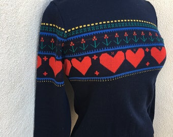 Vintage Lido of California sweater kitsch navy blue red hearts sz S/M