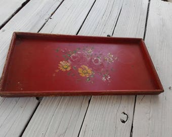 Wooden Tray Old RED Paint ~ Vintagel Chic Flowers ~ Display ~ Primitive Farmhouse Cottage