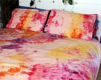 Tie Dye Duvet Set - Hippie Bedding - Watercolor Bedding - Egyptian Cotton - AUTUMN SUNSET