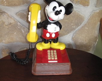Working Mickey Mouse Phone, Walt Disney, Pulse/Tone, Faux Boise Base, American Telecommunications Corporation, El Monte, CA