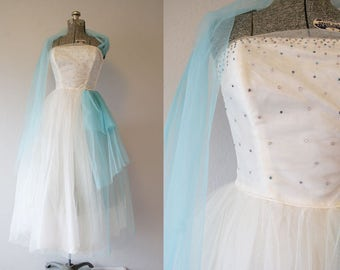 1950's Tulle Party Tea Length Prom Dress / Size Small