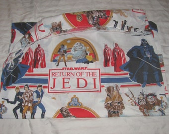 Vintage Star Wars Return of the Jedi Twin Fitted Sheet/Material - Darth Vader, Imperial Guard, C3P0, R2D2, Skiff, Ewoks, etc. Retro Fabric