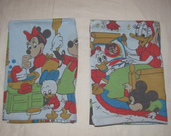 Vintage Disney Mickey & Minnie Mouse, Donald Duck - Twin/Standard Pillow Case Set of 2 - Doing Chores/Housework  - Cotton Pillowcases