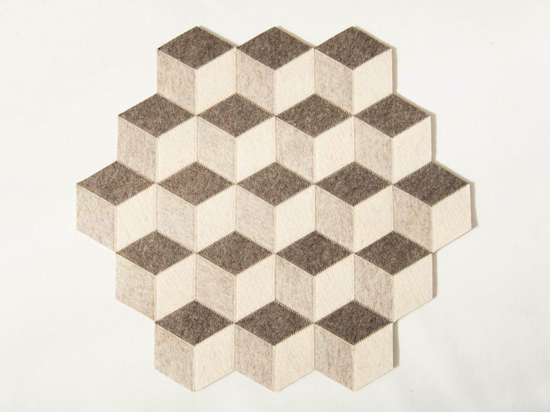 Handmade table mats design - Large Table Mat Wool Felt Light Grey Geometric Mat Stylish Table Mat Handmade Made In Italy