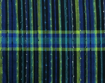 Cotton Fabric / Blue Cotton Fabric / Plaid Cotton Fabric / Vintage Fabric / Quilting Fabric / Vintage Plaid Fabric / Blue Plaid Fabric