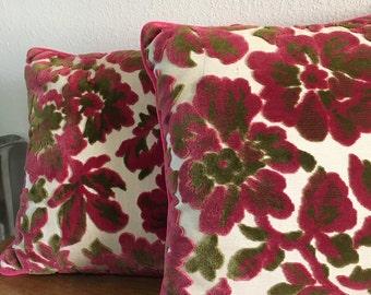 Brentwood Originals Velveteen Pink and Green Decorative Sofa Pillows