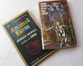 Brave New World Animal Farm Aldous Huxley George Orwell 1968 1958 Vintage Paperback Provocative Novel Signet Mid Century Futuristic Dystopia