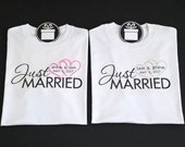 Just Married Mr and Mrs Wedding Shirts with Pink and Gray Hearts