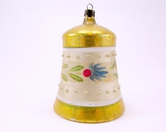 Vintage Glass Bell Christmas Ornament Gold Hand Painted Christmas Decoration German