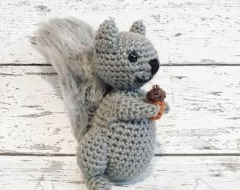 Sheldon the Squirrel, Crochet Squirrel Stuffed Animal, Squirrel Amigurumi, Plush Animal, Made to Order