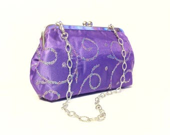 Purple Rhinestones Purse, Clutch, Bag 8 X 5 X 2 w/ 20 inches Silver Chain Handle