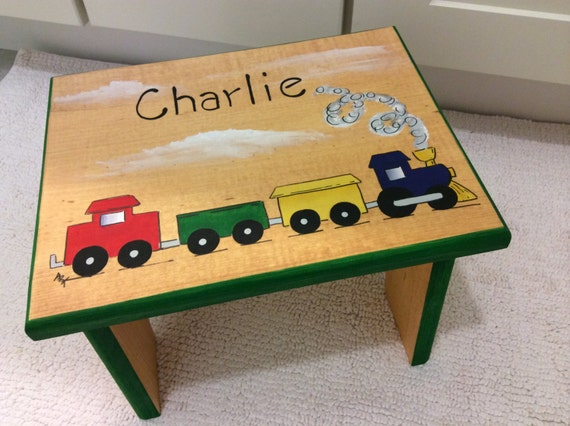 Train Step Stool Automotive step stool kids foot stoolPersonalized stool Hand painted kids furniture gift for kids baby shower gift & Train Step Stool Automotive step stool kids foot islam-shia.org