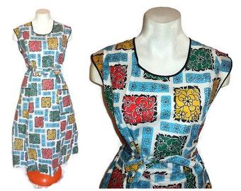 DEADSTOCK Vintage 1950s Cotton Wrap Dress Mid Century Day Dress Apron Dress Abstract Geo Floral Print New Unworn Rockabilly  Blue M L