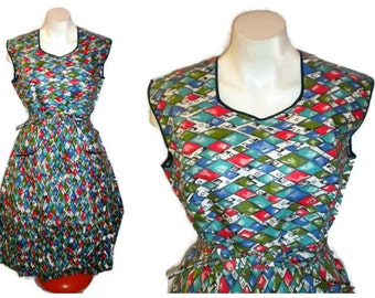 DEADSTOCK Vintage 1950s Cotton Wrap Dress Mid Century Day Dress Apron Dress Diamond Harlequin Print Colorful New Unworn Rockabilly  M L
