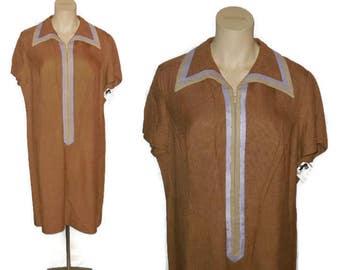 SALE Vintage 1960s Sheath Dress Mod Brown Rayon Linen Dress Purple Beige Trim Zip Front Housedress 60s Mod Dress L chest to 45 in