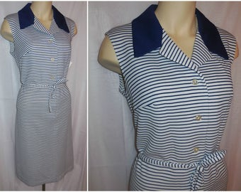 SALE Vintage 1960s 70s Sheath Dress White Polyester Navy Blue Stripes Nautical Mod Sleeveless Summer Dress L XL chest to 44 in