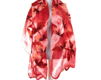 Scarf, Felt Scarf, Felted Scarf, Nuno Felted Scarf, Felted Shawl, Wrap Scarf, Silk Scarf, Felt Wrap, FAST shipment with UPS or FEDEX - 10539