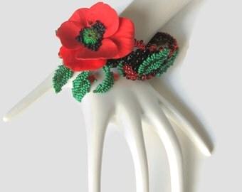 Red Poppy Bracelet, Flower Jewelry Art, Poppy Flower Bracelet, Gift For Women