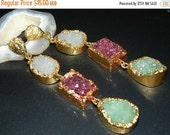 20off 24Kt Gold Edged Druzy Agate Slice Earring -Natural Druzy Slice-Electroplated-Gold Electroplated Edge-Druzy Earring