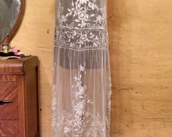 Ethereal Antique 1910 1920s Tambour Lace Wedding Gown