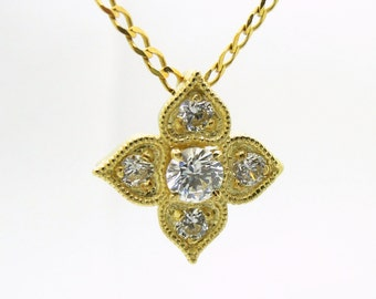Gold necklace, heart pendant, flower pendant, 14K Yellow gold, CZ