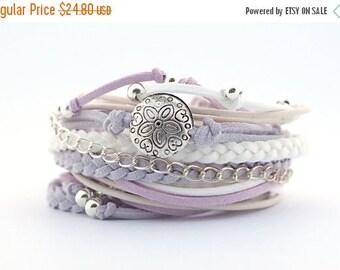 Mothers Day Pastel Colors Summer Wrap Bracelet, Gray White lavender Boho Bracelet, Lilac White Soft Wedding Boho Jewelry, Delicate Jewelry,