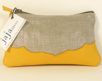 NELL shiny linen and YELLOW leather