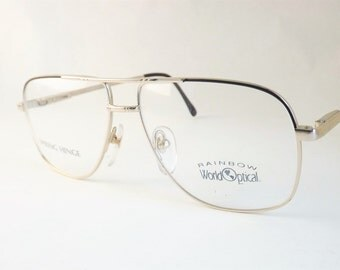 Mens Aviator Eyeglasses, Black and Gold Eyeglasses, Metal Glasses, Double Bridge Frames, Spring Hinge, NOS