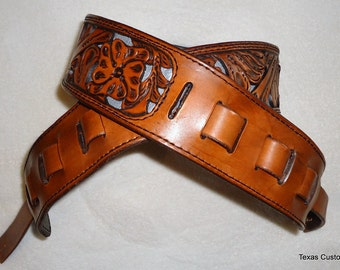 IN STOCK Leather Guitar Strap, Hand Tooled Western Pattern and Fiilgreed