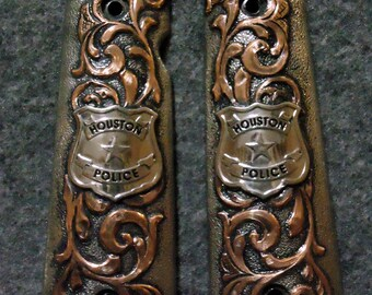 IN STOCK Hand Engraved 1911 Pistol Grips with Western Floral Copper Overlay and Houston Police Badge