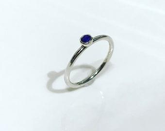 Gorgeous Blue Dot Lapis Lazuli Halo Stacking Ring
