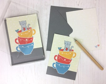 Cat Note Cards - flat cards - cute notecards - childrens thank you cards - thankyou cards for kids - postcards - cat lover cards