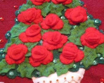 """Bucilla Finished  """"Rose Tree""""  18"""" felt stocking; designed by M. Stanziani, 2003"""